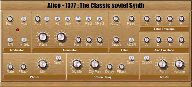 Alice-1377 is created on base of the classical soviet synthesizer Alisa-1377. Alisa-1377. This electronic musical synthesizer intends for signal