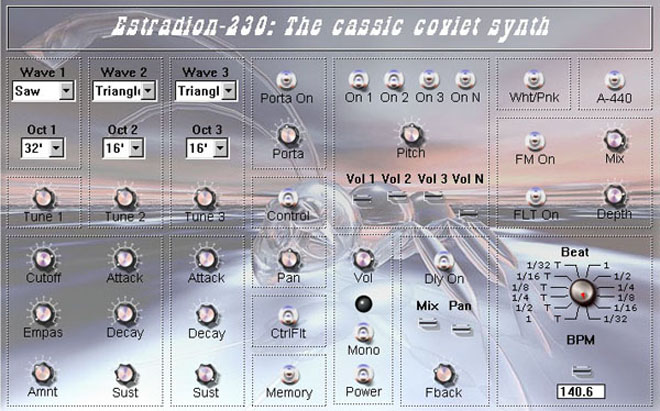Free VSTi Estradion is created on base of classical soviet synth Estradin.