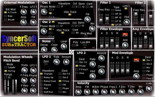 Free VSTi SubsTractor is soft synth.